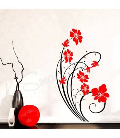 Sticker Magic Flower Negru&Rosu
