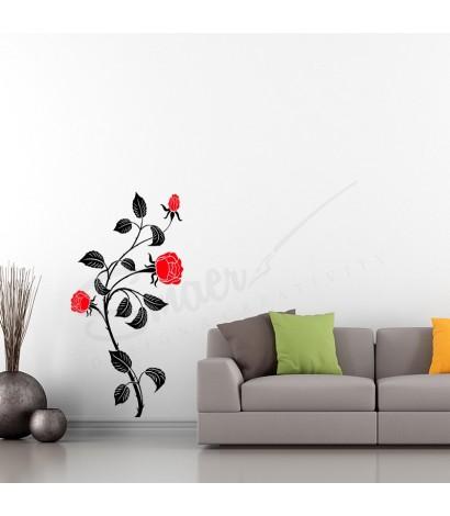 Sticker Trandafir Rose Flower Negru&Rosu
