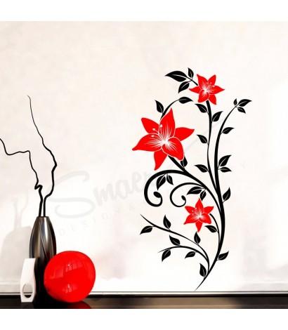 Sticker Floral Passion Negru&Rosu