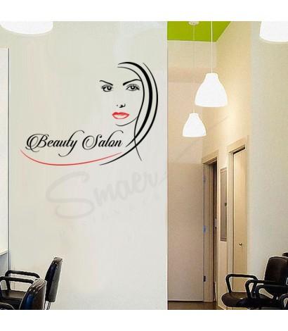 Sticker Beauty Salon Negru&Rosu