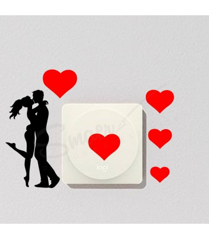 Sticker Intrerupator Love Negru&Rosu