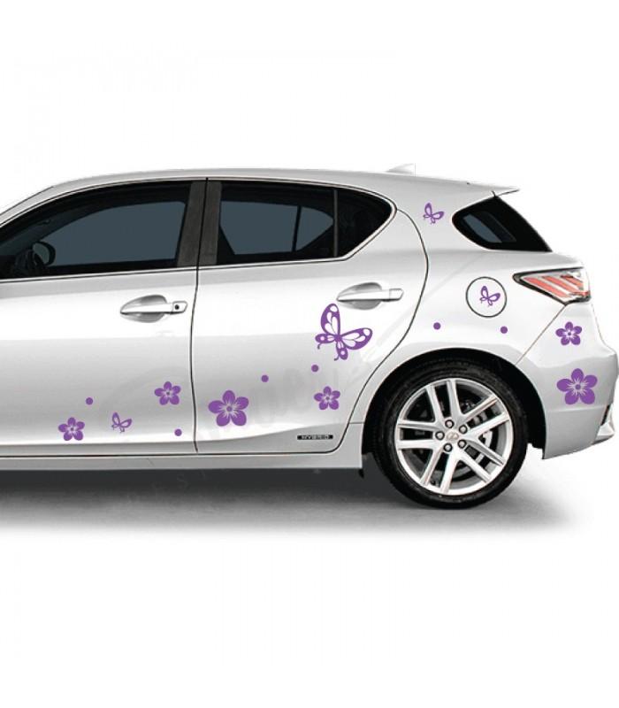 Autó matrica virág
